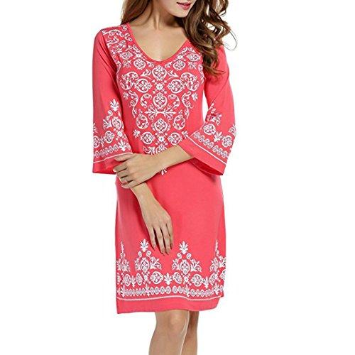 egante Chinesische Art Kleid Kostüm 3/4 Ärmel Lässig Fließenden Print Swing T-Shirt Tunika Kleid(Wassermelonenrot,EU-42/CN-L) (Schwarzen Barbie Puppe Kostüm)