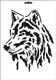 UMR-Design W-090 Wolf Wand / Textilschablone Grösse A4
