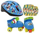 Stamp - Set de patines con 4 ruedas, casco y protecciones, diseño Mickey (J100015)