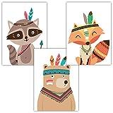 Frechdax 3er Set Poster DIN A3 ohne Bilderrahmen | Mädchen Junge | Kinderposter Bilder für Kinderzimmer Babyzimmer | Tiermotive Tiere (3er Set Indianer, Tiere, Fuchs)