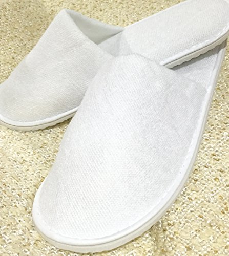 Price comparison product image 10 Pairs Closed Toe Terry Towelling Slippers Guest Hotel House Holiday