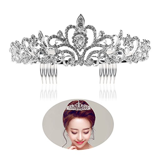 Tinksky Hochzeit Tiara mit Kamm leuchtenden Kristall Strass Braut Tiaras Stirnband (Silber) (Tiara Damen)