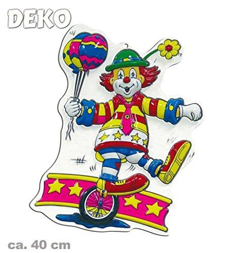 Wandbild Clown mit Einrad, Höhe ca. 40 cm, Wand-Deko, Dekoration