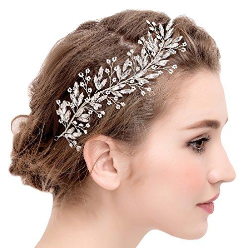 Silver Braut Rebe Stirnbänder Bead Blumen und Kristall Hochzeit Haarteile Haarschmuck