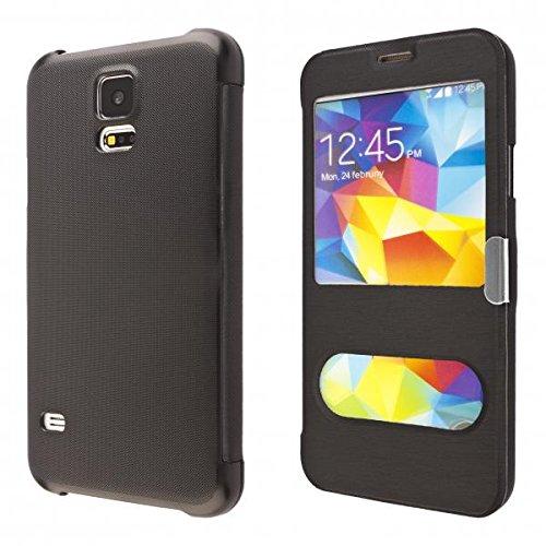 ECENCE Handyhülle Schutzhülle Case Cover kompatibel für Samsung Galaxy S5 i9600 S5 Neo S5 Plus Handytasche Schwarz 11040107