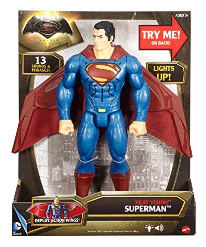 Mattel DJH10 - Batman v Superman - Dawn of Justice - 30cm Heat Vision Superman Action Figur mit Licht- & Soundeffekt (Englische Sprache) [UK Import] - Inch Action-figur 12 Superman