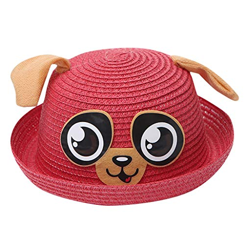 TWIFER Kids Baby Hat Cap Children Breathable Cartoon Hat Ears Straw Sun Protection Hats Breathable Sun Hat Straw Sunhat Holiday Cap Sun Hat (Watermelon Red)