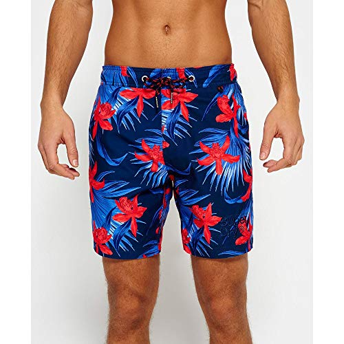 Superdry Badeshorts Men Vacation Paradise Swim Short Worn Nautical Navy AOP, Größe:S (Nautical Swim Shorts)