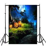 VEMOW Heißer Halloween Backdrops Kürbis Vinyl 3x5FT Laterne Hintergrund Blackout Fotografie Studio...