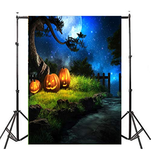VEMOW Heißer Halloween Backdrops Kürbis Vinyl 3x5FT Laterne Hintergrund Blackout Fotografie Studio 90x150cm(Mehrfarbig, ()