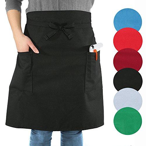 sinnlein® Vorbinder Kochschürze Küchenschürze Grillschürze mit 2 Taschen, für die Gastronomie, den Kellner / Kellnerin oder den Einsatz für Zuhause, 77 cm Breite x 58 cm Länge, Stoffbänder 77 cm Länge, 6 Farben wählbar, 100% Baumwolle, bis 30°C waschbar, trocknergeeignet, Unisex (Schwarz)