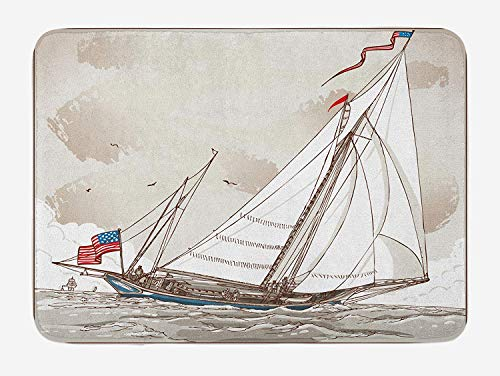 tgyew Vintage Bath Mat, Illustration of a Retro View of Antique American Yacht with Flags Ocean, Plush Bathroom Decor Mat with Non Slip Backing, 23.6 W X 15.7 W Inches, Pale Grey Tan White Antique Rose Farm
