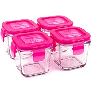 4 Pots de Conservation en verre trempé 120ml WEANGREEN Raspberry