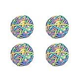 Nbeads Ball mit bunten Gummis, 4er-Set, 200 Stück pro Ball, insgesamt 800 Stück, elastische und dehnbare Gummibänder für Haare und zum Basteln