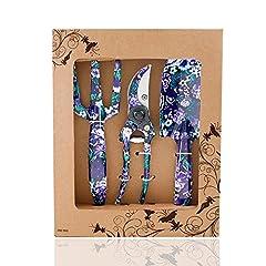 Idea Regalo - FLORA GUARD Set di attrezzi da giardino in alluminio a 3 pezzi con stampa viola - cazzuola, coltivatore, cesoie per potatura, set regalo per esigenze di giardinaggio