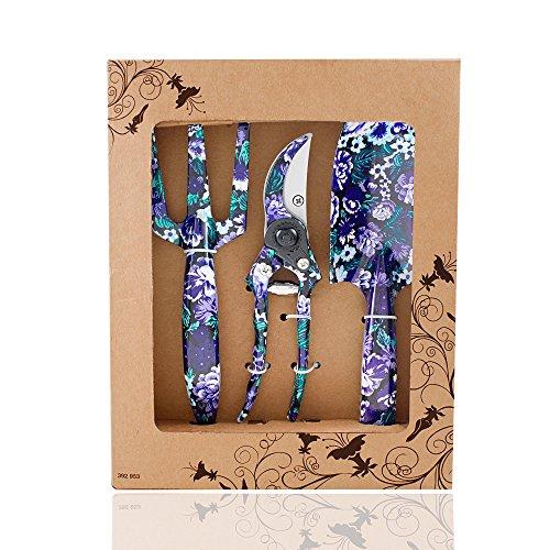 Galleria fotografica FLORA GUARD Set di attrezzi da giardino in alluminio a 3 pezzi con stampa viola - cazzuola, coltivatore, cesoie per potatura, set regalo per esigenze di giardinaggio