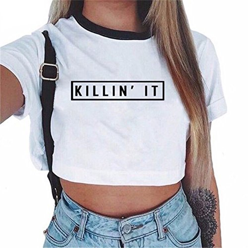 Baseball-print-tank-top (ROPALIA Damen Kurzarm Crop Top Geblümt Sommer loses T-Shirt (UK8/EU34/AsianM, D))