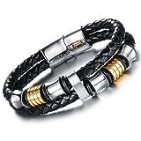Oidea Herren Mann Armband, Vintage Rund Kugel Ring Kreis Geflochten doppelte Armreif Wickel Armband, Leder Edelstahl, Schwarz Silber Gold