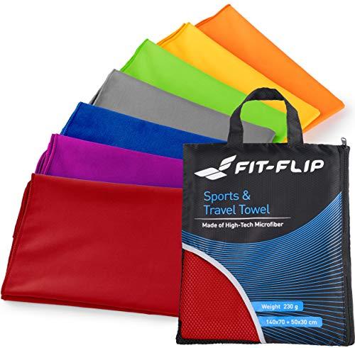 Fit-Flip 2er Set: 70x140cm + 30x50cm + Tasche/Rot