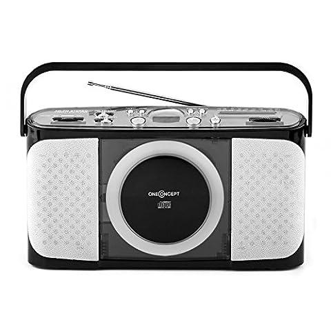 oneConcept Boomtown Beach Poste radio CD portable compact (tuner FM,