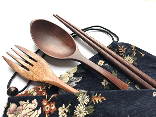 Natural Wooden dishware set Japanese style portable cutlery set with cloth bag for (TC1703)