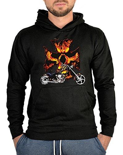 Geile-Fun-T-Shirts Biker Sweatshirts Herren Kapuzenpullover - Chopper Flameskull - Coole Männer Hoodies schwarz Motorradfahrer-Geschenke mit hochwertigem Druck