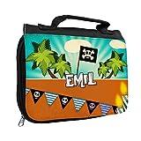 Kulturbeutel mit Namen Emil und Piraten-Motiv für Jungen | Kulturtasche mit Vornamen | Waschtasche für Kinder