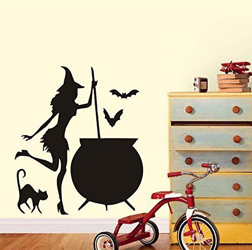 Hwhz Hexe Wandaufkleber Halloween Cauldron Potion Fledermäuse Schwarze Katze Adhesive Wandaufkleber Wand-Dekor Wandtattoos Dekoration