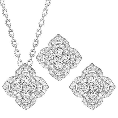Dawanza - Regalos Navidad Juego de joyas de Cristal Plateado Oro para Mujer - Zirconia Cúbica Blanca con Colgantes de Flor - Collar y Pendientes de Moda