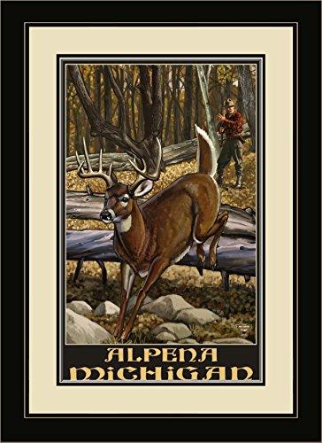 lpena (Michigan dreibinden Rehe und Hunter gerahmtes Wandbild Kunst von Paul A. lanquist, 13von 40,6cm ()