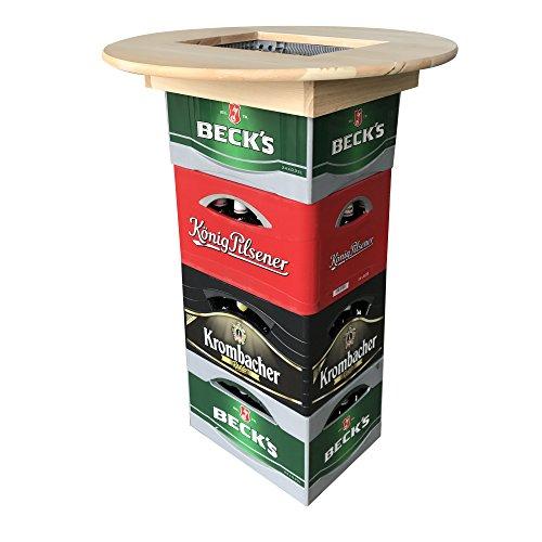 [pro.tec] Tischaufsatz für Bierkisten - Stehtisch aus Echtholz! (ø 70 x 10 cm)