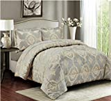 3 Teilige XL Moderne Doppelbett Bettgarnitur 230x250cm Tagesdecke mit Kissenbezug Bettüberwurf Bett Decke + Kissenbezüge Patchwork + Kissen-Bezug 3 Teile Set
