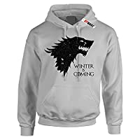 Winter is Coming Hoodie Hooded Sweater (Grey)(Black Front Print)(Size: Large 41-43