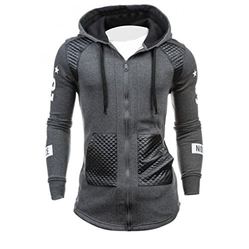 KaloryWee Chaqueta de Cuero para Hombre Abrigo de invierno cálida sudadera con capucha suéter Outwear,Chaqueta de Cuero para Hombres