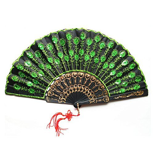 Fan de soie main Pixnor beau paon modèle Style femmes Dame pliant ventilateur avec des paillettes vertes