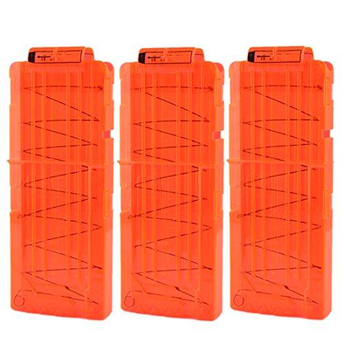 LDB SHOP Soft Bullet Clip für 12 Darts für Nerf N-Strike Elite Serie Spielzeuggewehre-Transparent Orange 3pcs