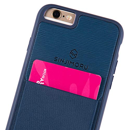Sinjimoru iPhone 6 / 6s Wallet Case, iPhone 6 Hülle mit Kartenfach/iPhone 6 Schutzhülle mit Smart Wallet Kartenhalter. Sinji Pouch Case für iPhone 6 / 6s, Navy.