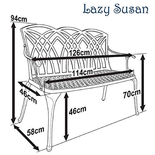 Lazy Susan – SANDRA Quadratischer Kaffeetisch mit 1 APRIL Gartenbank und 2 APRIL Stühlen – Gartenmöbel Set aus Metall, Antik Bronze (Beige Kissen) - 7