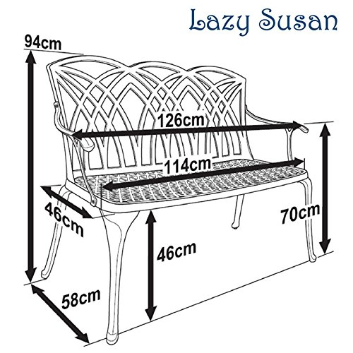 Lazy Susan – SANDRA Quadratischer Kaffeetisch mit 1 APRIL Gartenbank – Gartenmöbel Set aus Metall, Weiß - 7