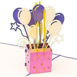 3D Geburtstagskarte Happy Birthday mit Ballons 3D Pop up, handgefertigt, Grußkarte, Glückwunsch Karte, Grußkarten, Glückwunschkarten, Geschenkkarte, Karte zum Geburtstag, Geschenkkarte