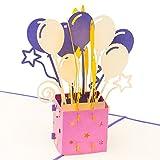 3D Geburtstagskarte - Geschenkpaket mit Luftballons und Sternen - Pop