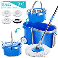 MASTERTOP 12L Magic Wheel Spin Mop and Stainless Steel Rotating Bucket Set and 3Pcs Microfiber Mop Pads with Drag Reduction Device and 1 Pc Floor Brush Mop Head