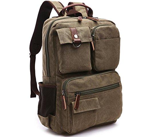 &ZHOU Segeltuchtasche, Männer und Frauen canvas Rucksack Computer Tasche Rucksack outdoor-Reisetasche große Kapazität army green