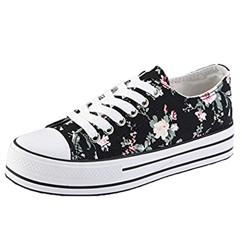 Scothen Femmes Filles Chaussures Sneakers Fleurs Sneakers Classique Low Top Chaussures sport Sneakers espadrilles chaussures toile fleur motif chaussures hautes toile espadrille plein air Sporty