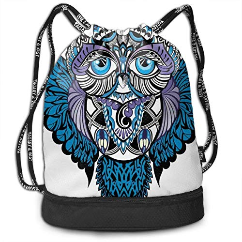 Sox Tattoo (MLNHY Owl Bird Animal with Paisley Tattoo Fitness Drawstring Bag Backpack Bundle Backpack)