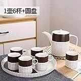 YYHCFT Tazza da caffè in Ceramica Set Tazza Piccola Europea Creativa Tazza da tè Inglese per la Colazione Tazza di Acqua per la casa Semplice Blu Nascosto -1 pentola 4 Tazza + Disco