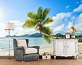 Trópicos Costa Palmas Arena Naturaleza Foto 3d papel tapiz mural, sala de estar TV sofá pared dormitorio pared papeles decoración para el hogar, 350 × 245 cm