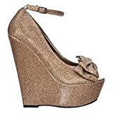 Onlineshoe delle donne delle signore Glitter Platform Wedge scarpe cinturino alla caviglia - Peep Toe Bow - Oro, argento, viola, scuro Nude UK6 - Eu39 - Us8 - Au7 Bronzo
