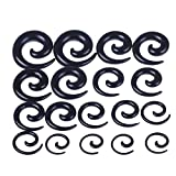 BODYA 9 Pairs uv Acrylic Spiral Snail Tapers Tunnels Ear Stretcher Expander Plugs kit 00-14G gauges Black