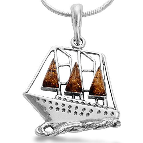 Schiff Bernstein Anhänger Segelboot 925 Sterling Silber, Segelschiff Titanic Boot Kettenanhänger Bernsteinschmuck #1663